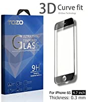 TOZO for iPhone 6S 3D Screen Protector Glass Full Screen Frame Cover [3D Touch Compatible] Premium Tempered Glass 9H Hardness 2.5D Edge Silk Print Super Clear Perfect Fit Screen [ 4.7 inch ] Black [並行輸入品]