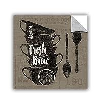 "ArtWall 2sch065a1414p Sue Schlabach's Linen Coffee III Removable Wall Art, 14"" x 14"" [並行輸入品]"
