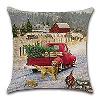 農家のクリスマス枕カバー赤い車の子犬とクリスマスツリー枕クッションケース枕カバークッションカバーソファホームオフィス屋内装飾用 50X50 CM