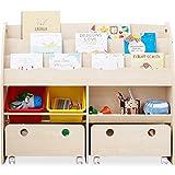 おもちゃ収納 絵本棚 絵本ラック 本箱 おもちゃ箱 子供用 木製 ワイドタイプ ナチュラル
