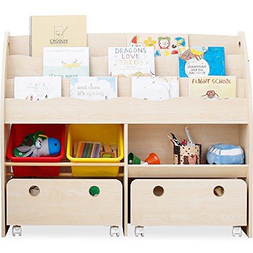 LOWYA (ロウヤ) おもちゃ収納 絵本棚 絵本ラック 本箱 おもちゃ箱 子供用 木製 ワイドタイプ ナチュラル