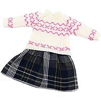 Lovoski ファッション 布製 人形服 白い ニットセーター スカート 冬ドレス 18インチアメリカガールドール人形用
