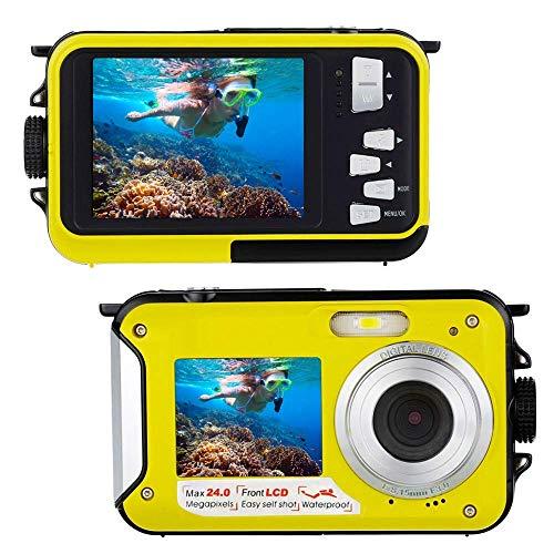 防水カメラ デジタルカメラ 水中カメラ フルHD 1080P 防水デジタルカメラ水に浮く オートフォーカス デジカメ 24.0MPデュアルスクリーン