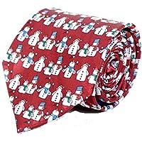 Men's Red Christmas Holiday Happy Snowmen Winter Novelty Tie Necktie