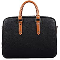 Vintage Synthetic Leather Messenger Satchel Bag Business Computer Bag 13.0-inch Laptop Briefcase for Men Black