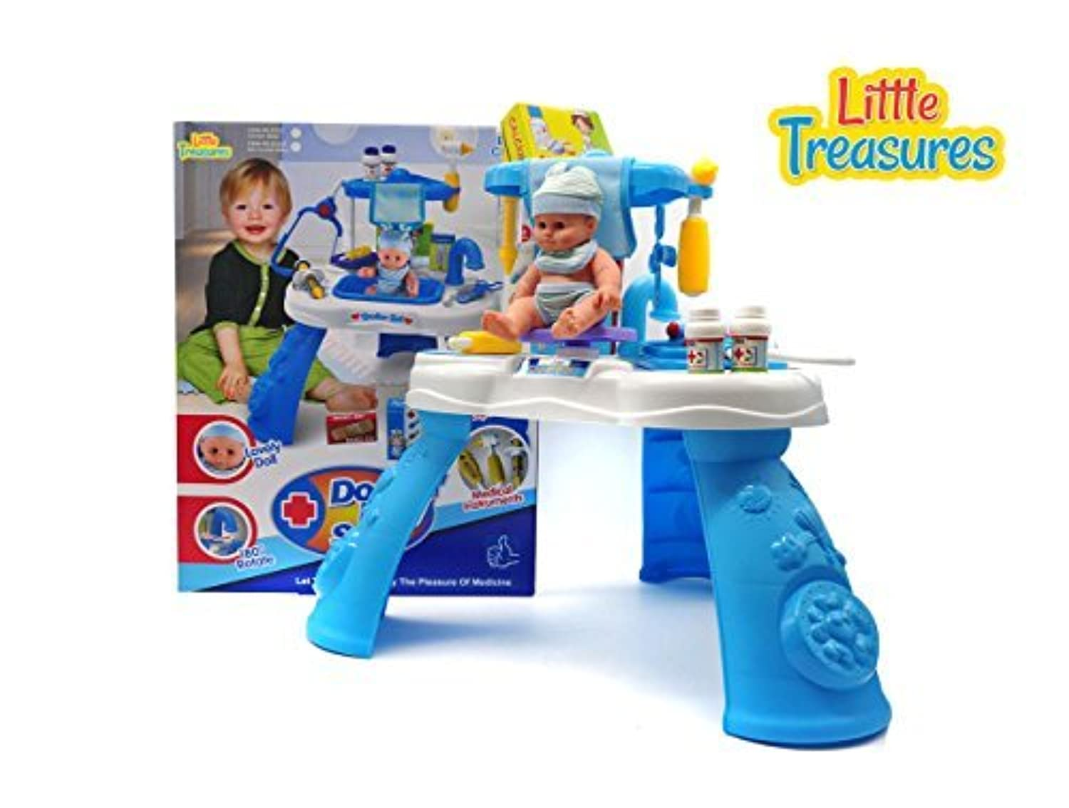 Little Treasures Doctor Play Set - Complete with Medical Station Sink Medical Instruments and Supplies - pretend Dr nurse 21+ pieces play toy set for children 3+ [並行輸入品]