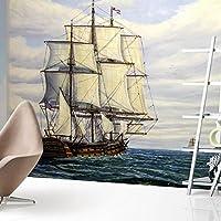 Sproud 大きな壁画がリビングルームベッドルームのテレビの背景の壁紙レトロノスタルジックな油絵のセーリングの壁紙 300 Cmx 210 Cm