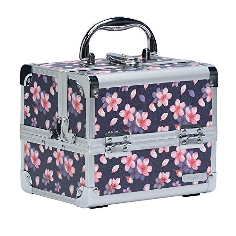 シルエット大陸充実Hapilife コスメボックス 鏡付き スライドトレイ メイク用品収納 プロ仕様 小型 化粧箱 (桜)