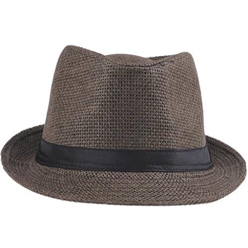 EozyなユニFedora/サマービーチキャップ/PPブレードストローパナマハット/UV麦わら帽子 (ブラウン)