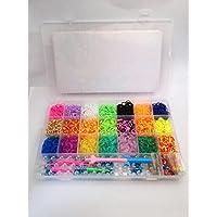 ルームバンド DIY 21色4200個 金属製フック 小型 大型編み台 Y字編み棒 カラフルS Cクリップ合計96個 並行輸入品