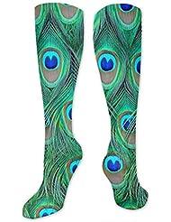 qrriy愛らしい緑ピーコック- 3 D抗菌アスレチックソックス圧縮靴下クルーソックスロングスポーツ膝ハイソックス少年少女キッズ幼児