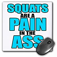 3drose LLC 8x 8x 0.25インチマウスパッド、Squats Are A Pain in the ass、ターコイズ、ワークアウト、ジム( MP _ 163902_ 1)
