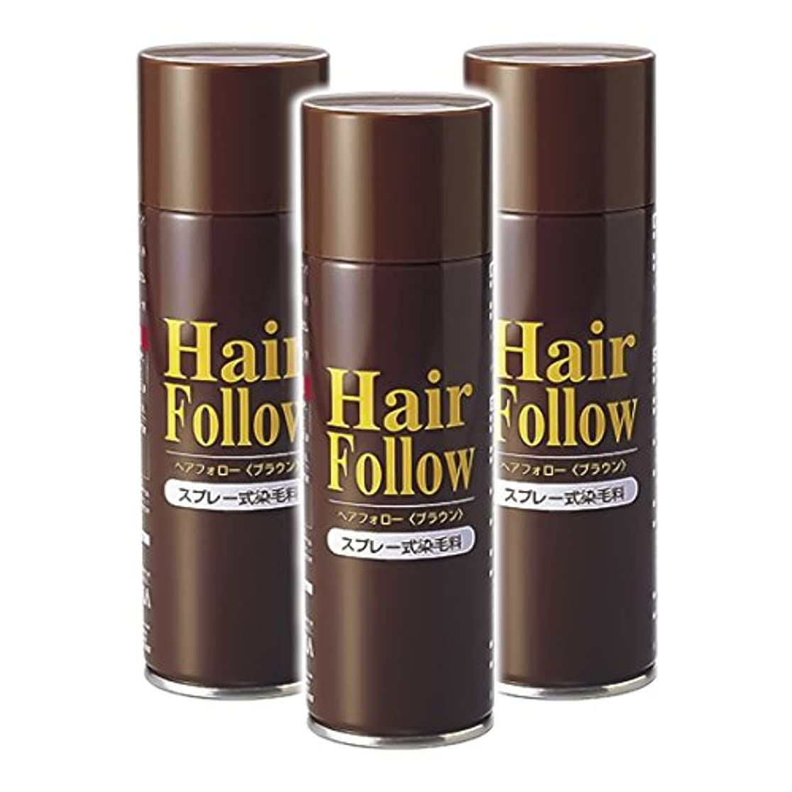 ソフトウェア定義する急襲薄毛スプレー 3本セット ヘアフォロー HairFollow ブラウン 150g