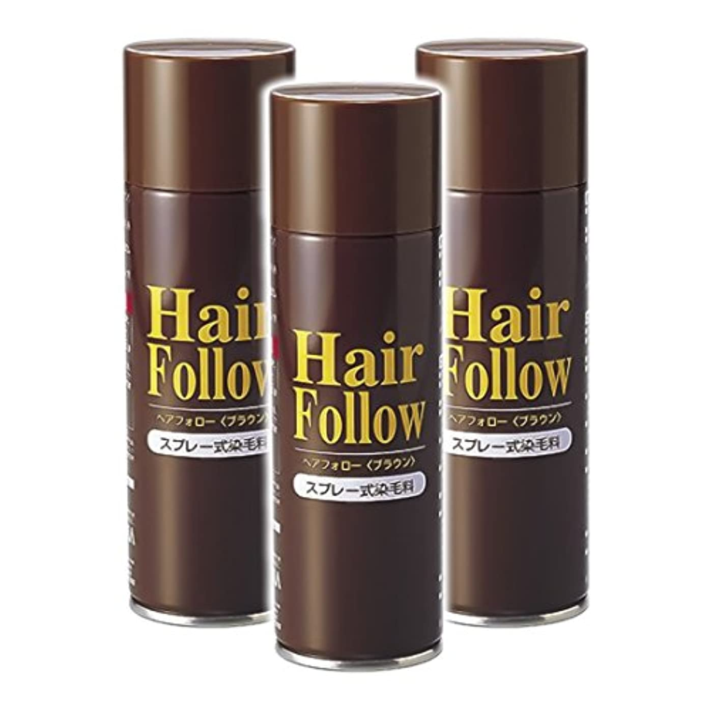 切り刻む圧倒的ピン薄毛スプレー 3本セット ヘアフォロー HairFollow ブラウン 150g