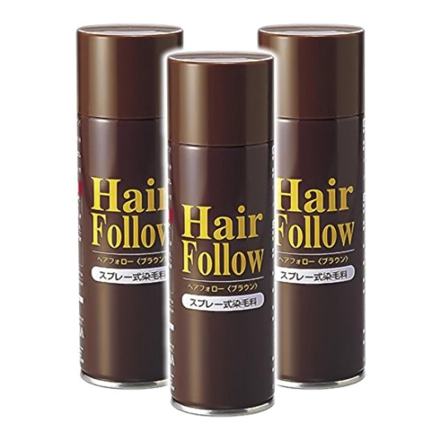 細菌オン甘やかす薄毛スプレー 3本セット ヘアフォロー HairFollow ブラウン 150g