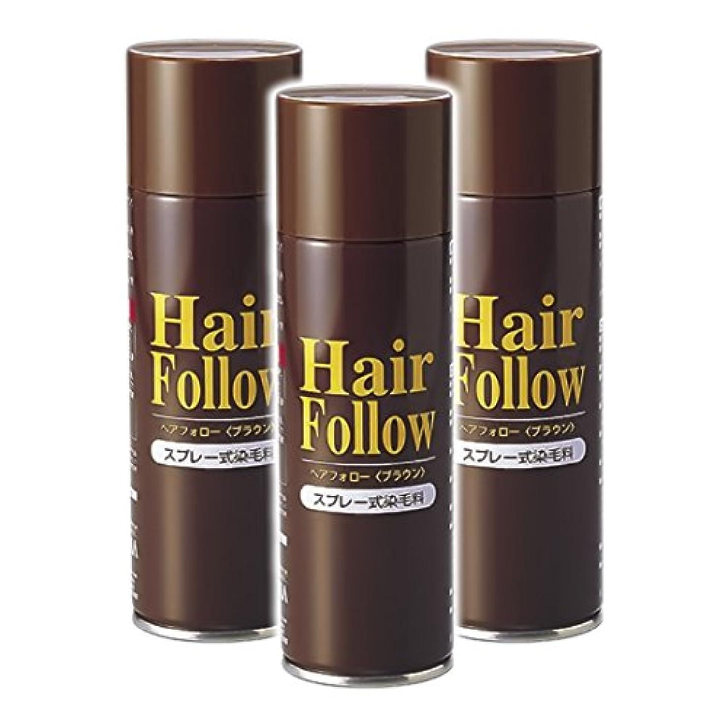 同化電信有料薄毛スプレー 3本セット ヘアフォロー HairFollow ブラウン 150g