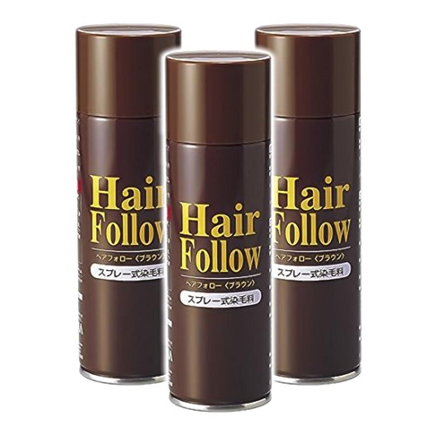 連邦近傍ずっと薄毛スプレー 3本セット ヘアフォロー HairFollow ブラウン 150g