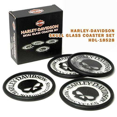HARLEY-DAVIDSON ハーレーダビッドソン スカルグラスコースターセット HDL-18528