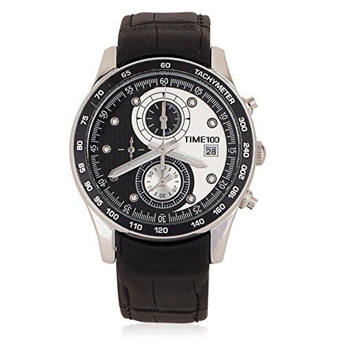 Time100  受賞人気男性腕時計 カレンダー 夜光インデックス タイマ ストップウオッチ 50M防 多針腕時計  運動形 メンズ腕時計 紳士# W80151G (シルバー バラゴールト)