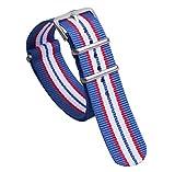 女性のための12ミリメートル白/赤/青の多色古典的なファッションNATOスタイルナイロン時計バンドストラップ交換
