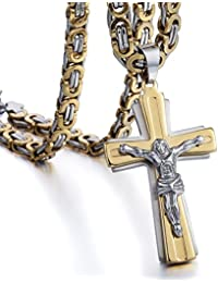 Trendsmax メンズ ペンダント 二疊 彫刻 イエス クロス 十字架 キリスト教 ペンダント ステンレス ネックレス付け ゴールド