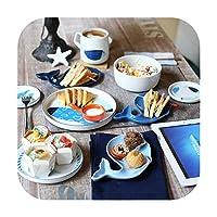 kawayi-桃 創造的なヨーロッパの海の魚セラミック食器セット磁器食器ミルクコーヒーカップ/カップ+サラダライス+ 4皿/皿-Fish 6pcs Set-