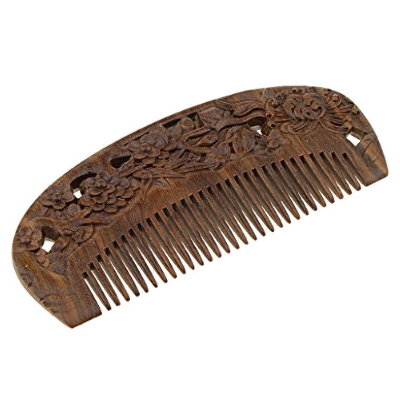 皮肉困惑する黒ヘアコーム 木製櫛 頭皮マッサージ 櫛 ヘアスタイリング 高品質 2タイプ選べる - #2