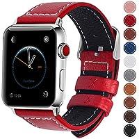 Fullmosa コンパチ Apple Watch バンド ベルト アップルウォッチバンド38mm 42mm Fullmosa apple ウォッチ4(44mm)3 2 1バンド 本革レザー 交換バンド レッド 42mm