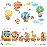 DECOWALL DA-1406 Animal Train and Hot Air Balloons Kids Wall Stickers Wall Decals Peel and Stick Removable Wall Stickers for Kids Nursery Bedroom Living Room