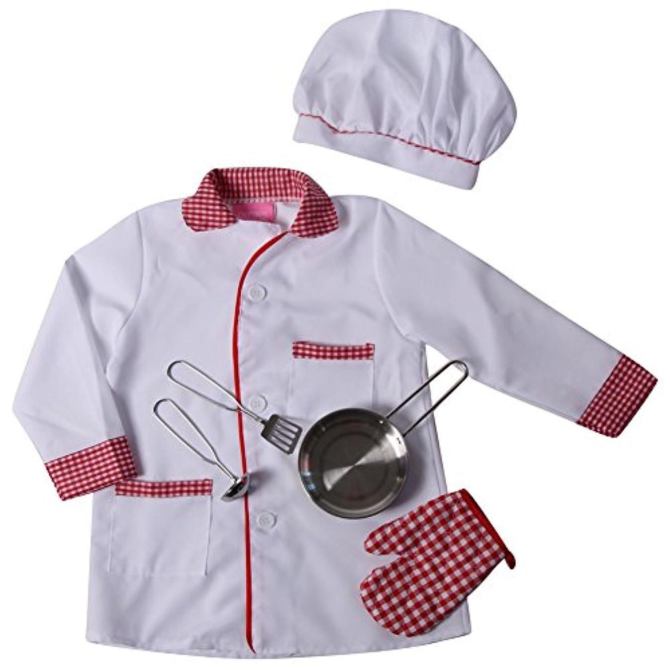 一貫性のない夜近くMaking Believe Kids Chef Pretend Playセット – ジャケット、帽子&フライパンセット(サイズ選択)