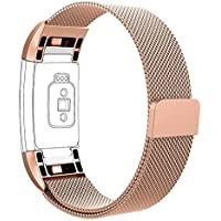Vancle バンド for Fitbit Charge 2 ステンレス鋼バンド 交換ベルト for Fitbit Charge 2 ユニークなマグネットロック付き (機械がない)