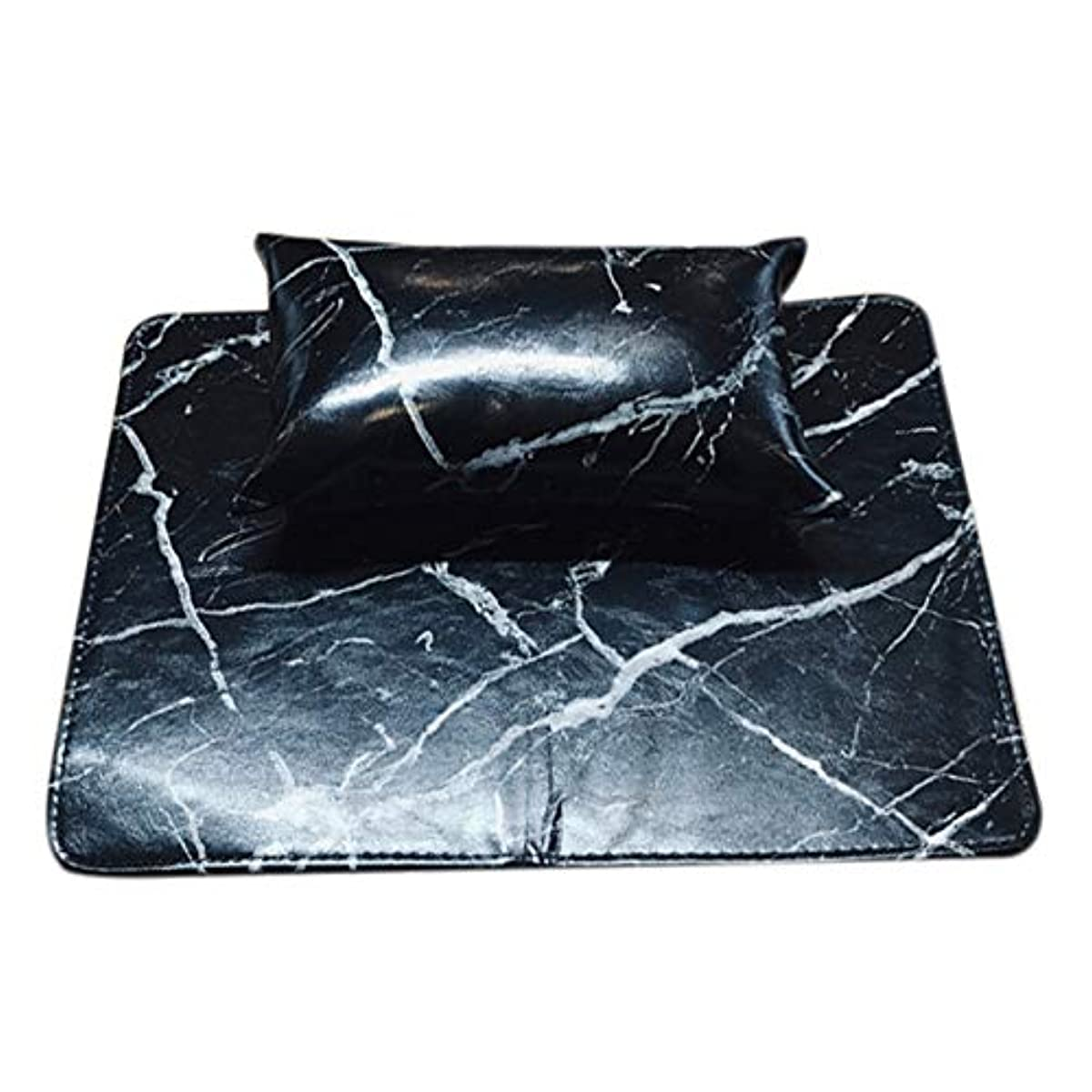 原稿地殻プレミアTOOGOO マニキュアツール ソフトハンドクッション枕とパッドレストネイルアートアームレストホルダー マニキュアネイルアートアクセサリーレザー(2個 一体化)ブラック