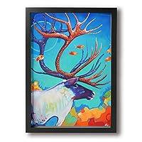 Zetena ヘラジカ 壁掛け式の装飾画 現代壁の絵 壁アート 木製スター 部屋飾り 客間絵画 インテリア絵画 リビング絵画 部屋飾り 壁絵 モダン インテリアアート