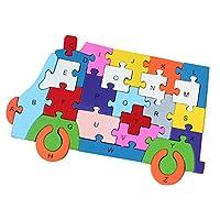 Fenteer 子供  知育玩具  勉強おもちゃ アルファベット 番号  カラー  ジグソーパズル 幼稚園  全7種類  - 救急車パターン