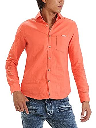 (スペイド) SPADE シャツ メンズ 長袖 ワイドカラー カジュアル 白シャツ 無地【w260】 (S, オレンジ)