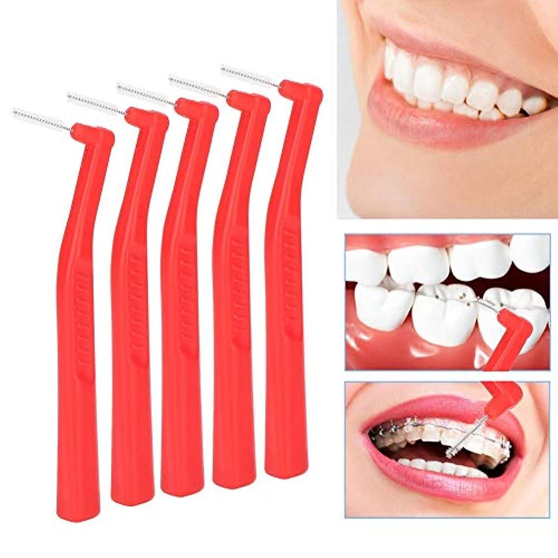 聞く鷹簿記係歯間ブラシ、5本の深く柔らかい髪の歯の汚れ除去ブラシ