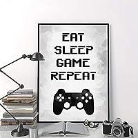 壁アートキャンバス絵画画像食べる睡眠ゲームパーティーポスターゲームルーム壁アートインテリア-50×70センチ×1個フレームなし