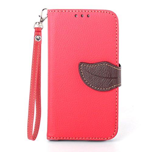 Asng Galaxy S4 手帳型 PUレザーケース [ SC-04E / Galaxy S4 SIMフリー 5 インチ 対応 ] 画面保護 / スタンド / ICカード収納 / ストラップホール Leaf Design TPU Case + ストラップセット (赤&茶)