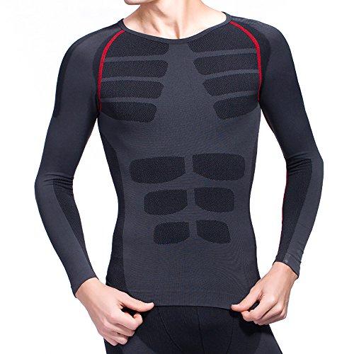 【ANION】加圧Tシャツ コンプレッションウェア 長袖シャツ 姿勢矯正 スポーツシャツ 男性用機能性肌着 (L)