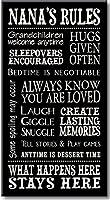 My Word 。Nana 's rules-8.5X 16装飾サイン、クリームとブラックレタリング