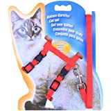 cat Leash Chest Strap I-Shaped Vertical bar Breathable Mesh Adjustable cat Harness Cat Lead Nylon Meterial - Red