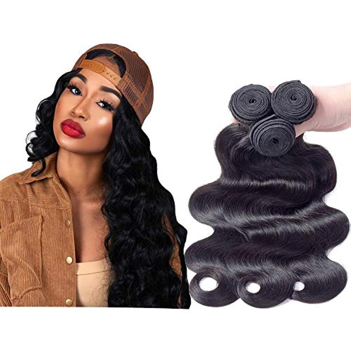 場所変換するハントHOHYLLYA ブラジルの髪の束人体波ヘアエクステンション#1Bナチュラルブラックカラー(10