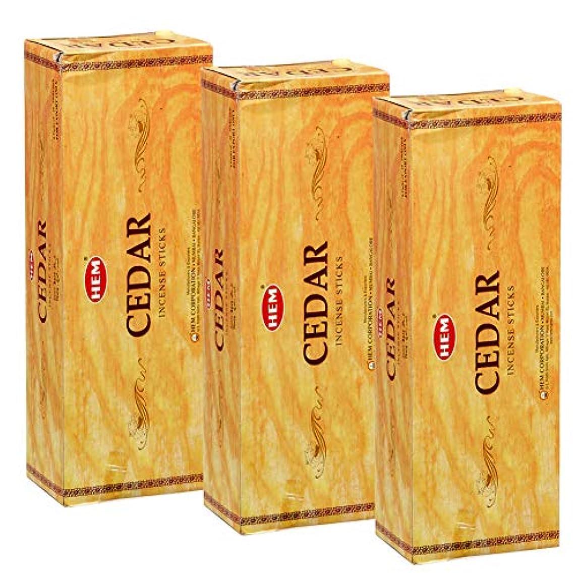 サイドボード大声で未使用Hem Cedar Incense、3ボックス – (360 Sticks per order) バルクOrder