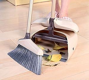 LOIOFOE 収納便利、風除け箒&ちりとりセット 清掃用品 ダストリ 掃除セット ほうき ホーム 美容室 ショップ 大人気のほうき チリトリ セット 室内 ほうき 掃除