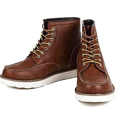 9cmアップ シークレットシューズ シークレットブーツ メンズ 履くだけで背が高くなる靴 メンズブーツ ワークブーツ メンズシューズ kk5-500 ブラウン 25.0cm