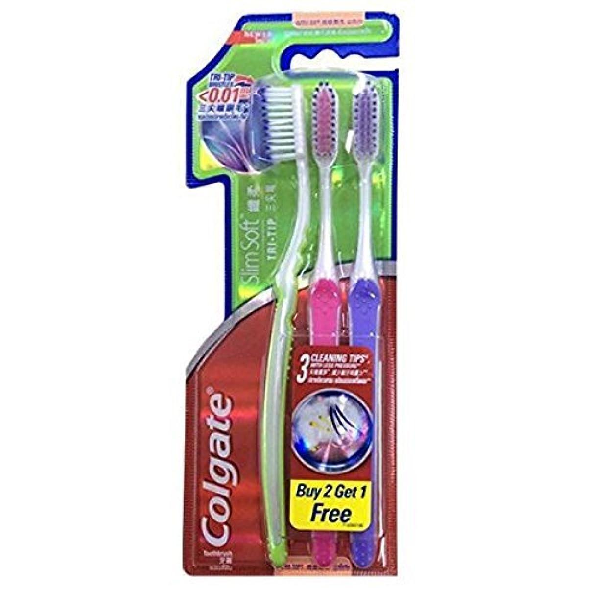 ロッド船外ストレスColgate Compact Ultra Soft Tri-Tip | Slim Soft Toothbrush, Family Pack (3 Bristles) by BeautyBreeze