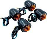 汎用 バレット ウインカー ビレット ブレット アメリカン 改装 シルバー 黒 ブラック 4個