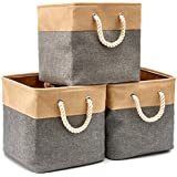 EZOWare [3-Pack] Collapsible Storage Bins Basket Foldable Canvas Fabric Tweed Storage Cubes Set with Handles for Babies Nursery Toys Organizer (13 x 13 x 13 inches) (Gray/Beige)