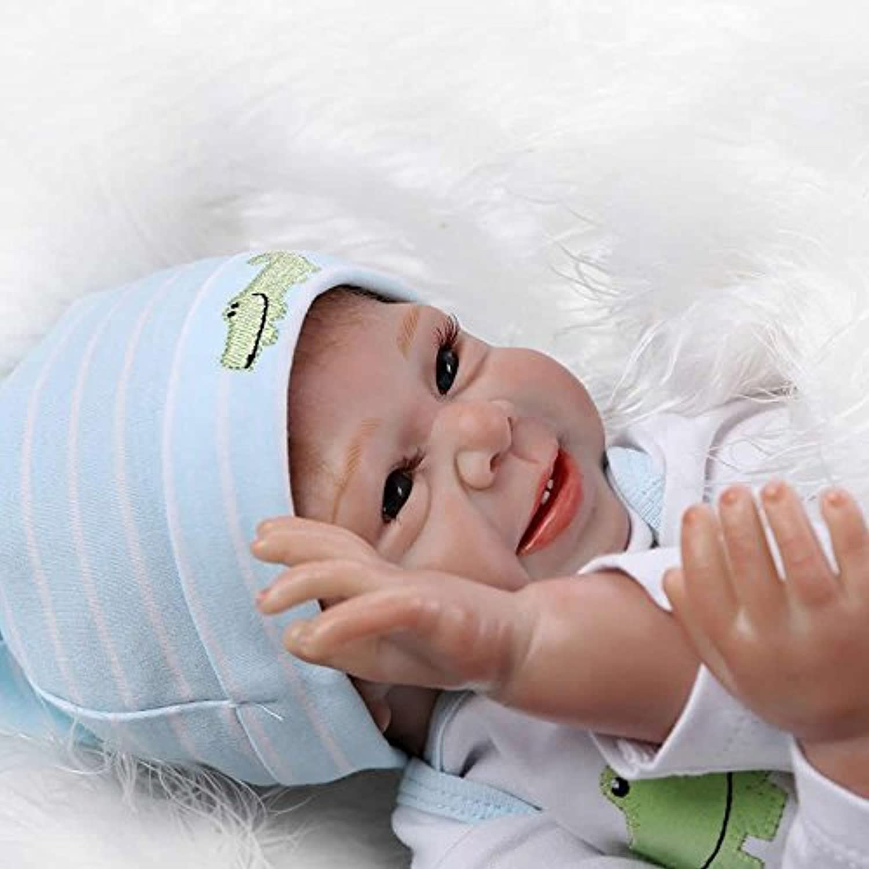 NPK 22インチLovely Rebornベビー人形Smiling新生児Boy Dolls that Look Real子供クリスマスギフトFreeマグネットおしゃぶりダミー