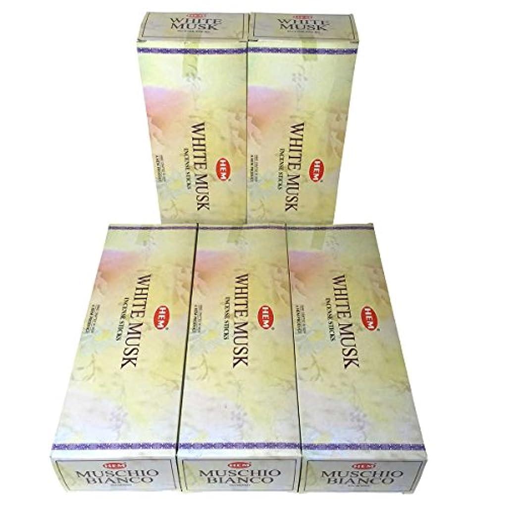 誇張邪悪な余暇HEM ホワイトムスク香 スティック 5BOX(30箱)/HEM WHITE MUSK/ インド香 / 送料無料 [並行輸入品]